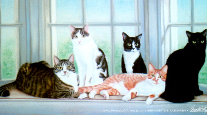 """Ripley, Murphy, O.G., Veda and Missy Kitty"", 20"" x 30"", pastel, 1998 © Bernadette E. Kazmarski"