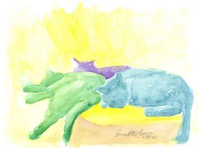 Lazy Saturday Afternoon, watercolor, 9 x 12 © Bernadette E. Kazmarski