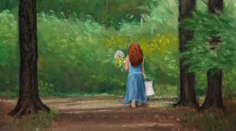 """Me in the Woods-crop"", pastel, © Bernadette E. Kazmarski"