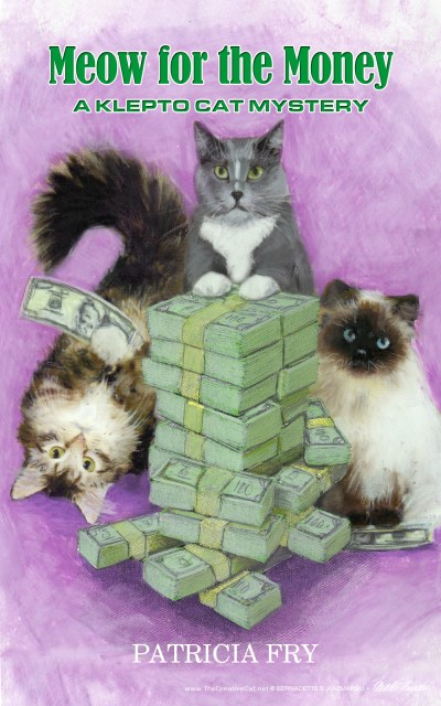 "The finished cover for ""Meow for the Money""."