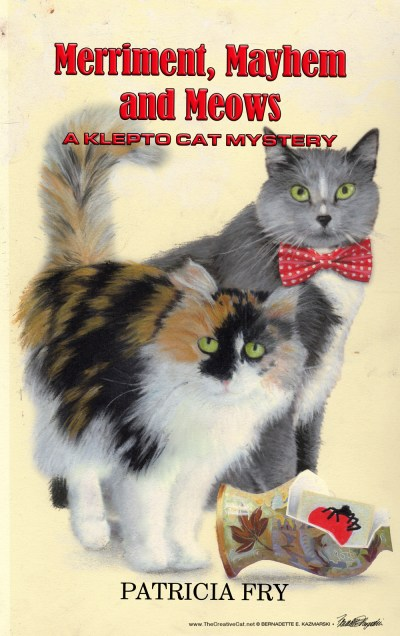 "The finished cover for ""Merriment, Mayhem and Meows""."