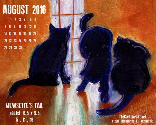 """""""Mewsette's Tail"""" desktop calendar, 1280 x 1024 for square and laptop monitors."""