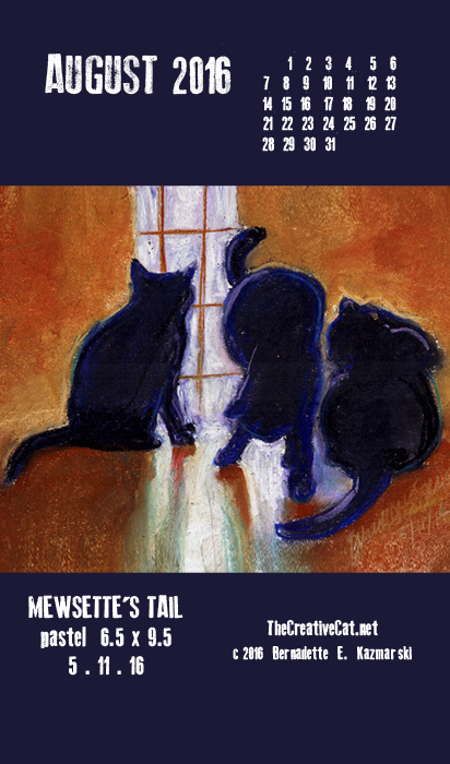 """Mewsette's Tail"" desktop calendar, for 400 x 712 for mobile phones."
