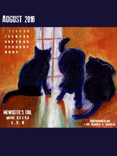 """""""Mewsette's TAil"""" desktop calendar, 600 x 800 for iPad, Kindle and other readers."""