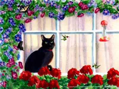 watercolor of cat at window watching hummingbirds