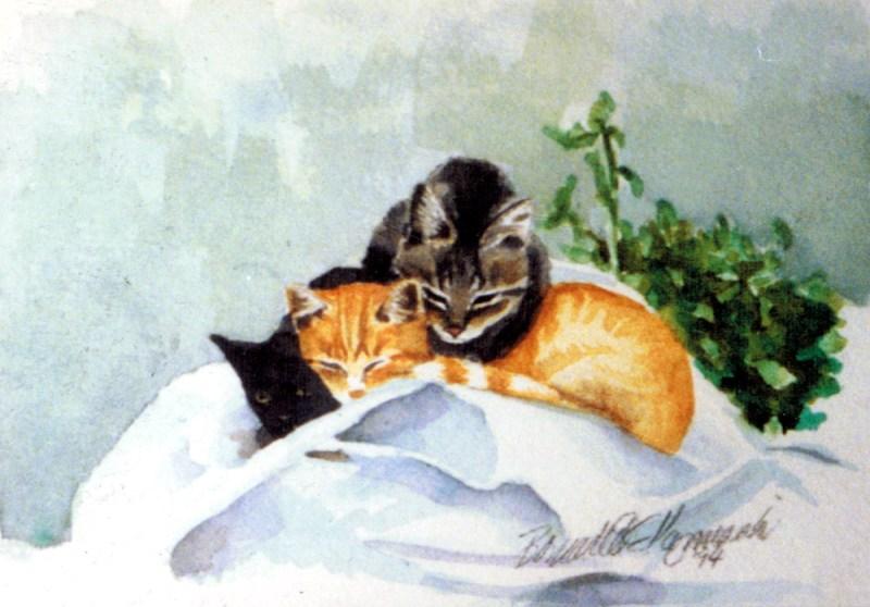 watercolor of three kittens on feed sacks