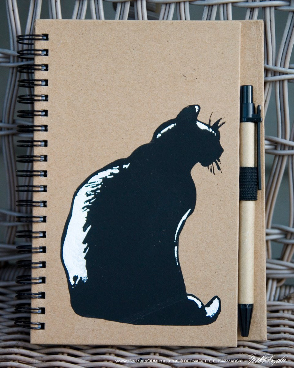 """Mimi en Silhouette"" stenciled on notebook, 5 x 7"