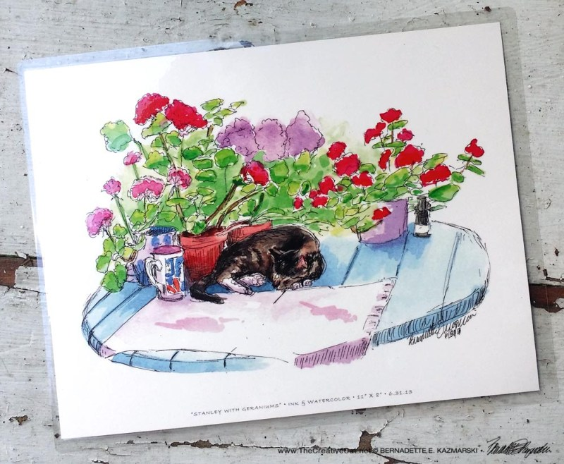 Stanley With Geraniums, 8.5 x 11.