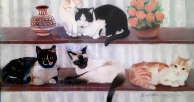 Commissioned Portrait: Five Cats By the Window