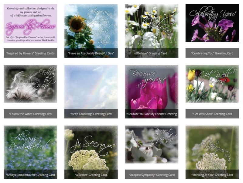 """Inspired by Flowers"" greeting cards."