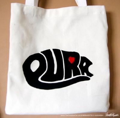 """Purr"" tote bag."