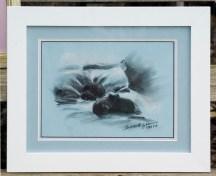 framed pastel sketch of cats sleeping