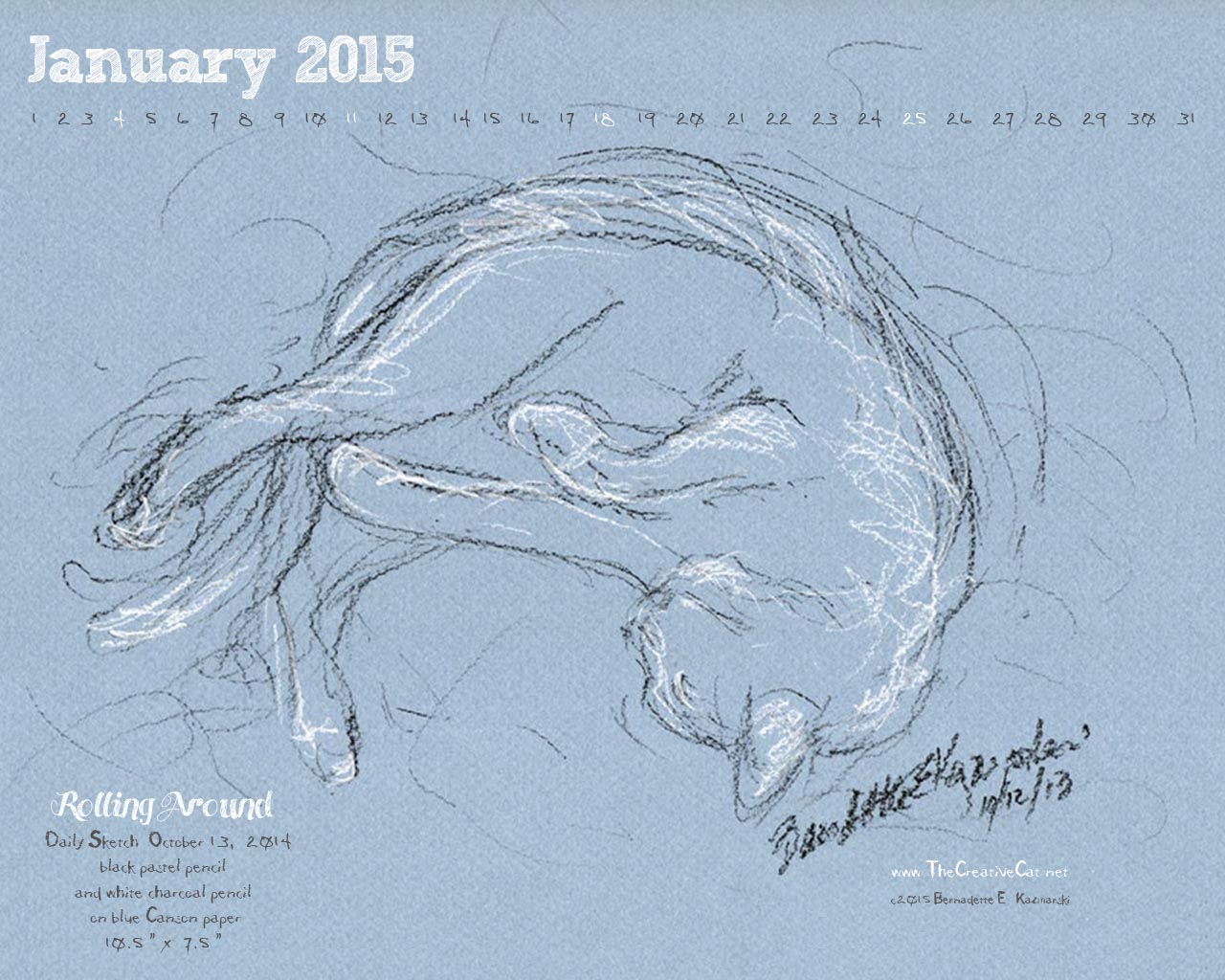 """""""Rolling Around"""" desktop calendar, 1280 x 1024 for square and laptop monitors"""