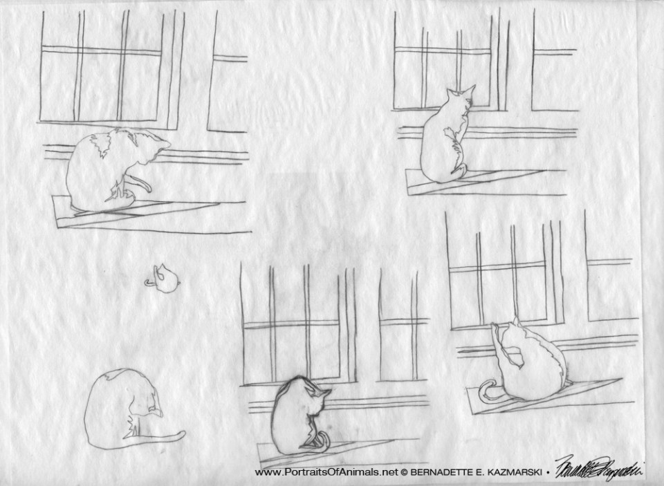 My sketches of the windows and setting once I had the postures finished.