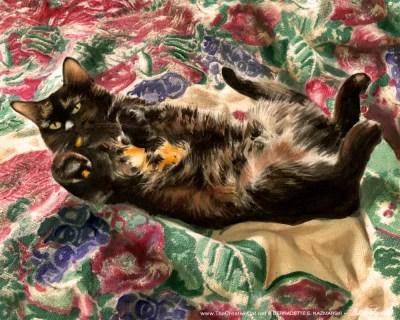 painting of tortoiseshell cat on flowered blanket