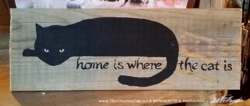 Home is Where the Cat Is handpainted sign