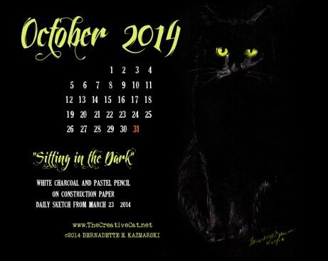 """Sitting in the Dark"" desktop calendar, 1280 x 1024 for square and laptop monitors cats desktop calendar"