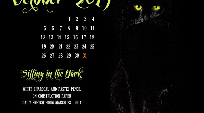 """Sitting in the Dark"" desktop calendar, 1280 x 1024 for square and laptop monitors cats desktop calendar"