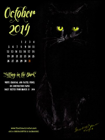 """Sitting in the Dark"" desktop calendar, for 600 x 800 for iPad, Kindle and other readers cats desktop calendar"