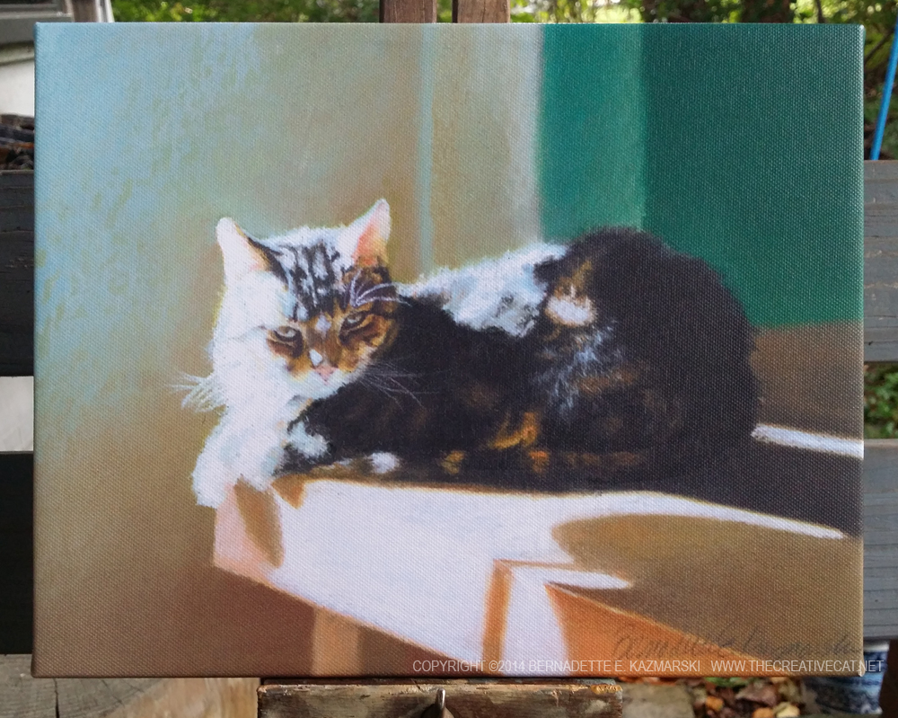 canvas of pastel of cat napping on table