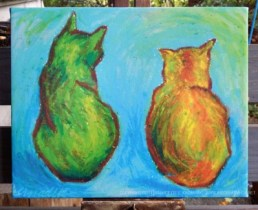 """Two Cats After van Gogh"" as a gallery-wrapped canvas print."