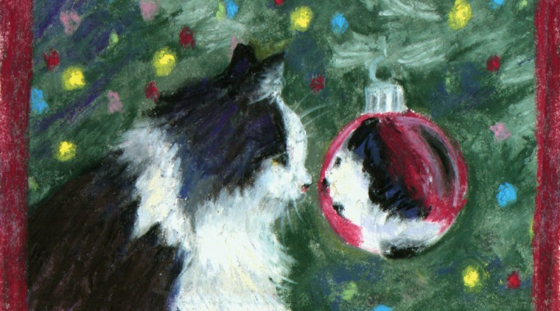 pastel sketch of cat looking into Christmas ball