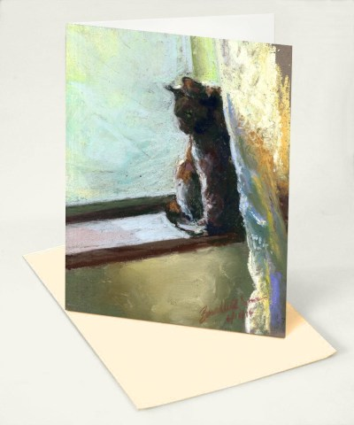 """""""Spring Morning"""" feline art card"""