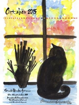 """Studio Window Autumn"" desktop calendar, 600 x 800 for iPad, Kindle and other readers."