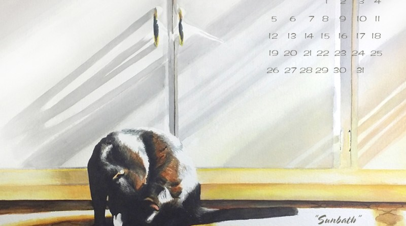 black cat desktop calendar