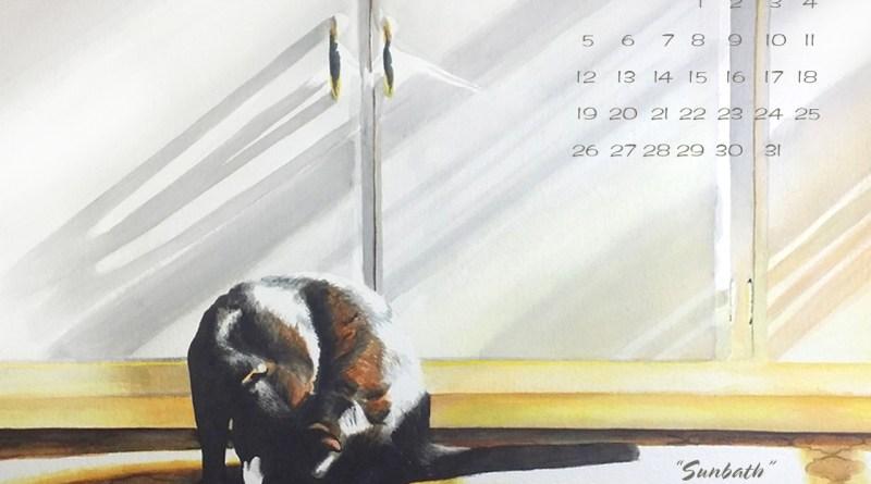 black cat desktop calendar