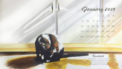 desktop calendar of black cat