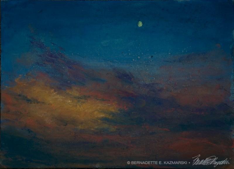 Sunset, Moonset, pastel on self-prepared board, 8 x 11 © Bernadette E. Kazmarski