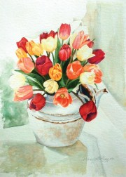 greeting card with tulips in teapot