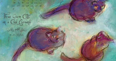 """""""Three Warm Cats on a Cool Ground"""" desktop calendar, 1280 x 1024 for square and laptop monitors"""