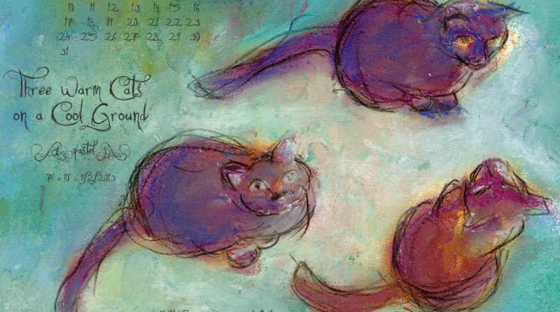 """Three Warm Cats on a Cool Ground"" desktop calendar, 1280 x 1024 for square and laptop monitors"