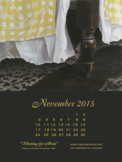 """""""Waiting for Mom"""" desktop calendar for iPads and vertical monitors ."""