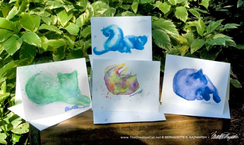 Watercolor Cats Note Card Set