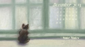 """Winter Window"" cat artwork desktop calendar for square monitors."