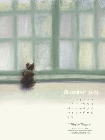 """Winter Window"" cat art desktop calendar for Kindle, iPad and mobile devices."