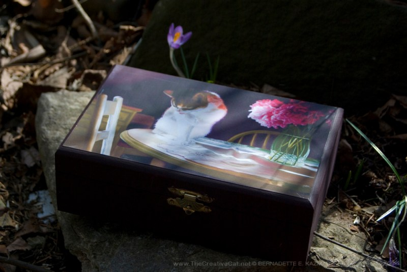 """Peaches and Peonies"" wooden keepsake box."