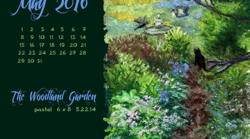 """The Woodland Garden"" desktop calendar, 1280 x 1024 for square and laptop monitors."