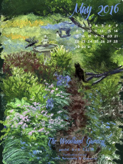 """""""The Woodland Garden"""" desktop calendar, 600 x 800 for iPad, Kindle and other readers."""