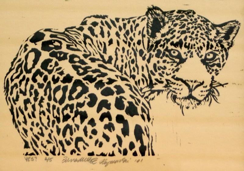 linoleum block print of leopard,