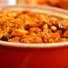 Gluten-free Fig, Cranberry and Walnut Sausage Stuffing