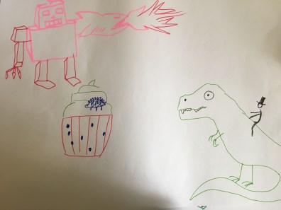 Robot with shark laser arm fiighting with T-rex and cupcake