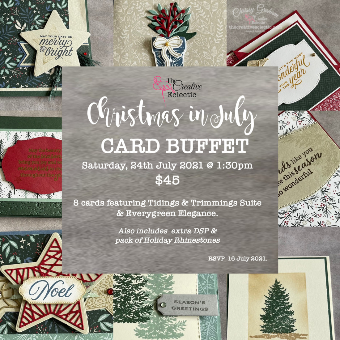 Christmas in July Card Buffet 2021 #ChristmasCardmakingClass #christmas #handmadecards #creativeclasses
