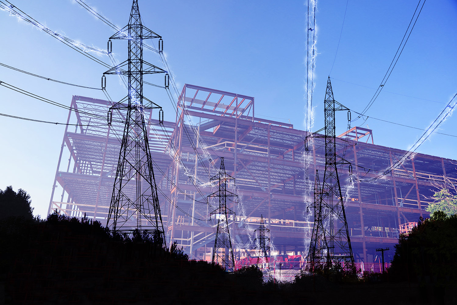 Construction Industry Electrification in Blue - Stock Photo