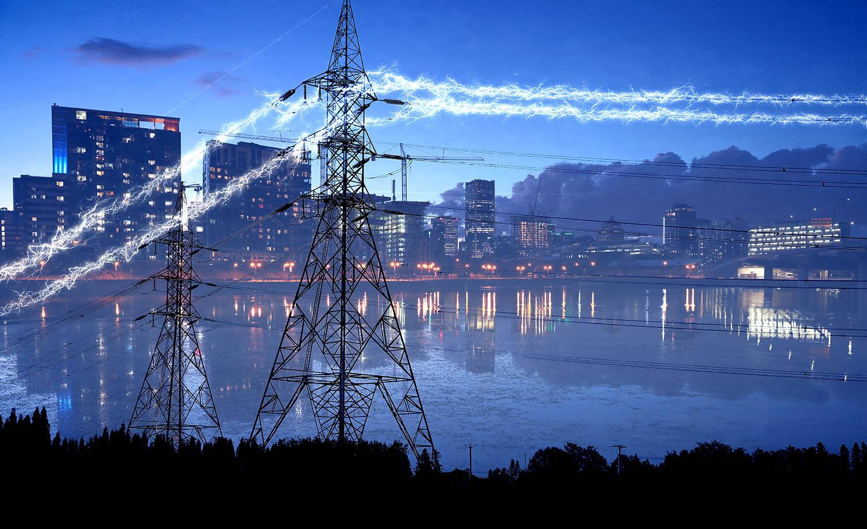 Urban Electrification in Blue - Stock Photo