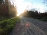 The dust I kicked up on the road back to camp.