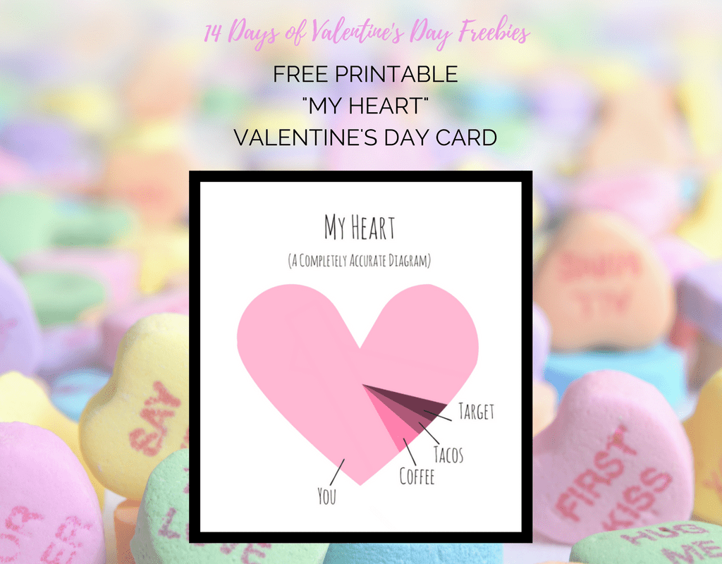 image relating to Printable Heart Diagram referred to as My Middle Printable Valentines Card -